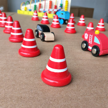 5PCS Red Wooden Small Traffic Cone Street Traffic Signs Kids Children Educational Toy Set For Kids Birthday Gift Thomas Train(China)