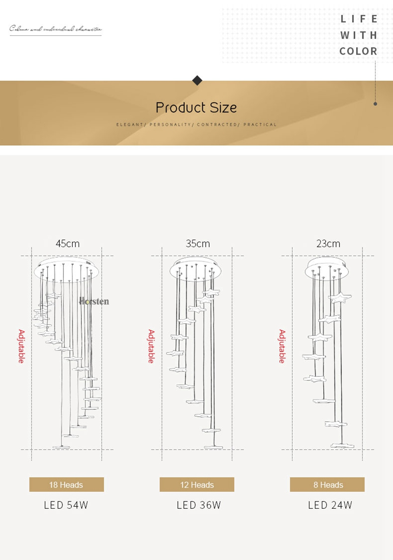 Modern Duplex Staircase LED Pendant Lights Personality 18 Stars Hanging Lamps Minimalist Rotaion Staircase Lamp Living Room Lighting (7)