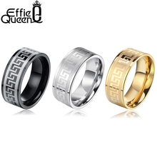 Effie Queen Cool Titanium Wedding Ring for Women Men Black/Silver/Gold-color 316L Stainless Steel Ring Valentine's Day Gift IR21