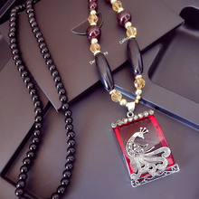 Chinese wind retro peacock necklace long sweater chain crystal opal pendant necklace female retro sweater chain accessories