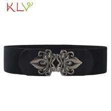 Stylish 2017 Black imitation leather belt woman wide  Stretchy elastic belts Waist Ladies fashion belt