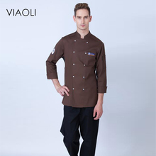 Viaoli Double Row Button New Women's Long Sleeve Chef Uniform Western Restaurant And Bread Baking Canteen Servers Working Wear(China)