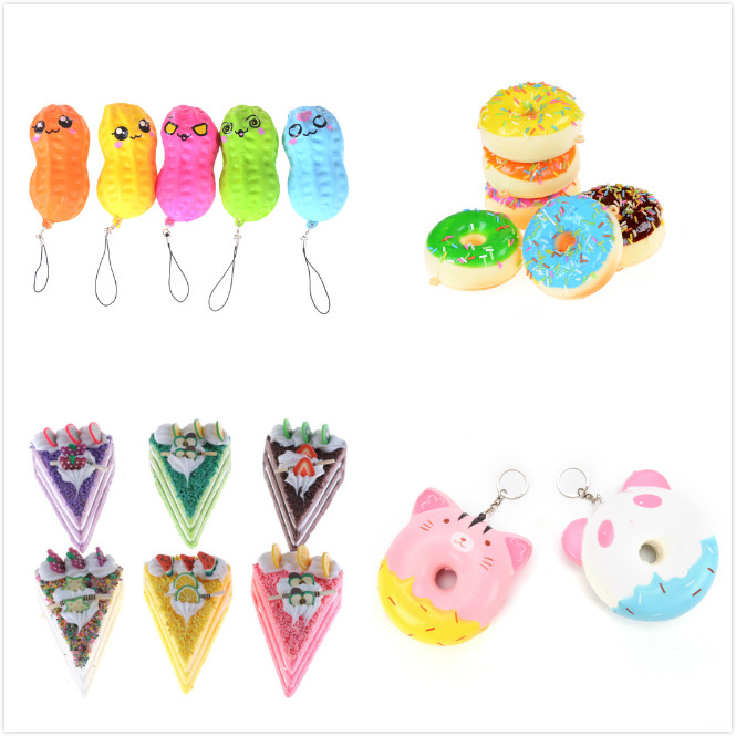 Jumbo Squishy Ice Cream bread peanut Slow Rising Kawaii Bread Bun Cake Sweet Charm Scented Kid Toy Gift Phone Straps Wholesale