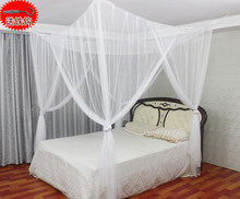 White Mosquito Net 4 Post Poster Bed Canopy Four Corner Mosquito Insect Bug Net Mesh Full King Size nylon polyester Best Price