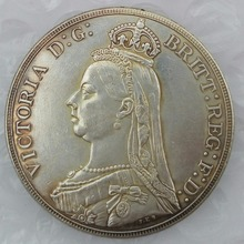 England UK 1888 silver One Crown Queen Victoria Copy Coin(China)
