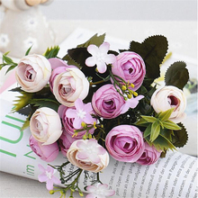 13Heads Silk Artificial Peony fake Flowers small Rose Tea Buds fleur artificielles for Home wedding decoration Flower cheap