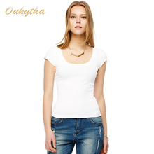 Free Shipping Sexy low-cut summer short-sleeved t-shirt female Korean Slim was thin tight white T-shirt bottoming shirt M16046