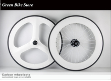 Customized painting carbon fixed gear Wheelset front tri spoke rear 88mm clincher for road bicycle three spoke(China)