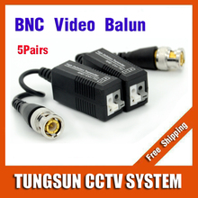 5Pairs BNC to UTP Cat5/5e/6 Video Balun HD Transceivers Adapter Transmitter Support 720P/1080P AHD/CVI/TVI Camera 200M