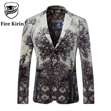 Fire Kirin Blazer Men 2017 Peacock Printed Men Blazers Casual Suit Jacket Slim Fit Homens Blazer Mens Stage Wear Brand Coat Q205(China)