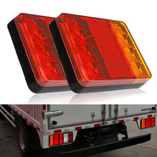 2Pcs Car Rear Tail Light 8 LED Warning Lights Reverse Indicator Waterproof Tail Rear Lamps for Boat Caravan Truck UTE Trailer(China)