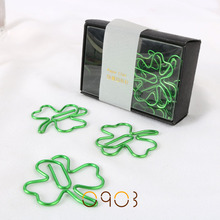 Free shipping Pet plastic coated line four leaf clover clip befriend metal paper clips(China)