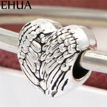 Free Shipping Sliver Bead Charm Wings Of Love Accessories Beads Fit Pandora Bracelets & Bangles DIY Jewelry SPB140