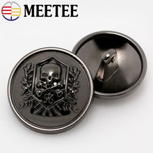 2017 New 10pcs Zinc Alloy Skull Buttons Black Button Gun Metal Women Coat Buttons Fashion Antisilver Man Buttons 15mm 20mm 23mm(China)
