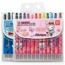 12pcs/lot Cartoon Plastic Student Wax Caryon Stationery Office And School Paint Supplier Children Safe Non-toxic Kleurpotloden