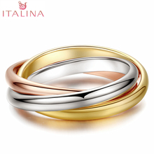 Rings For Women With Three Colors Hot Rose Gold Color Women's Fine Jewelry Full Size Fashion Ring Female Jewellery(China)