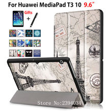 "Case For Huawei MediaPad T3 10 AGS-W09 AGS-L09 AGS-L03 9.6"" Cover Funda Tablet for Honor Play Pad 2 9.6 Slim Flip Case+Film+Pen(China)"