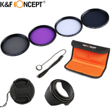 K&F CONCEPT UV+CPL+FLD+ND4 Neutral Density Camera Lens Filter Kit+Bag+Lens Hood Cap+Cleaning Cloth For Canon/Nikon/Sony DSLR(China)