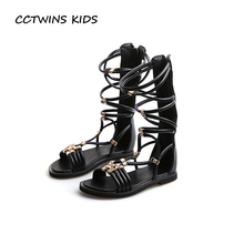 CCTWINS KIDS 2017 Summer Children Knee High Kid Fashion Gladiator Flat Baby Pu Leather White Shoe Toddler Black Sandal B1161