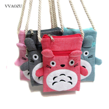 Cartoon Anime Totoro Cute Wallet Portable Case Purse for Phones Shoulder Bag Candy Color Mini Messenger Bags Bolsa Feminina Gift(China)