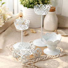 4pcs Iron wedding creative cake stands, wedding dessert table ornaments, white lace dessert stand, wedding table decoration(China)