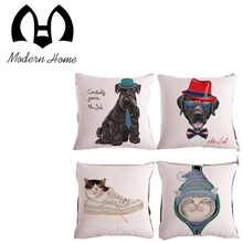High Quality Invisible Zipper Cushion cover cartoon dog cat hat fashion show pillow case cushions pillow cover(China)