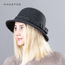 AIWOSHOW 2017 Fedoras Bowler Hats Round Caps Top Jazz Hat For Women Vintage Wool Felt Hat Girls Autumn Winter Cotton Fedoras(China)