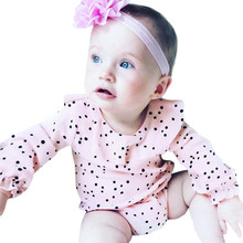 0-24M Fashion Autumn Newborn Infant Kids Baby Girsl O-Neck Long Sleeve Dot Ruffle Romper Outfits Clothes dropship