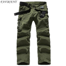 2017 New Spring & Autumn Men's Fashion Casual Slim washed loose Straight Solid Color XL Male Cargo Pants Full Length Trousers(China)
