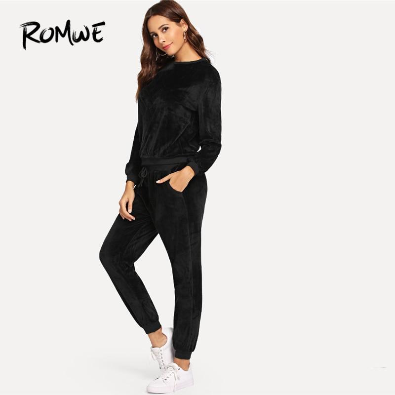 e0f100b57e Romwe Sport Black Long Sleeve Velvet Sport Suits Women Jogging Running Sets  2018 Autumn Fitness Running Suits Workout Clothes