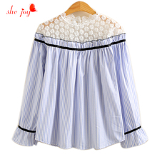 Korean Chic Lovely Blouse Lace Patchwork Striped Women Shirts Blouses Long Sleeve Spring Lace Clothings Ladies Pullover(China)
