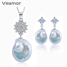 Pearl Jewelry Baroque Pearl Necklace Long Earrings Elegant Big Size 12-25mm Top Quality 925 Sterling Silver Set Brand Jewelry(China)