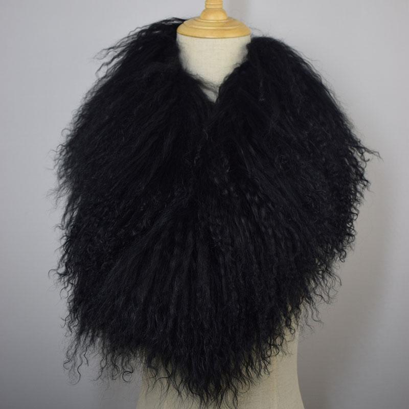 tibet lamb fur scarf black 3