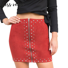 Buy LESSVERGE High Waist Suede Leather Rivet Skirt Women Black Red Autumn Winter Jupe Femme Vintage Casual 2017 Mini Skirts for $11.20 in AliExpress store