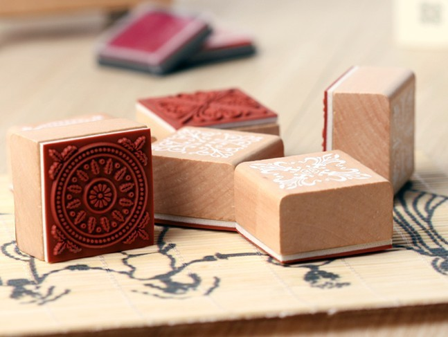 Free Shipping / New sweet lace series wood round stamp / 4*4CM square shape  gift stamp / 6 designs<br><br>Aliexpress