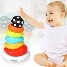 Popular Baby Toys Puzzle Early Education Rainbow Tower Rainbow Rings Stacked Toys Developmental Educational Toy for Children(China)