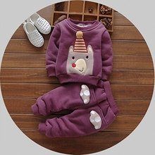 2pcs Autumn Winter Cartoons Bear Cotton Girls Boys Baby Sets Velvet Thicken Sweatshirts+Pants Clothing Sets Suits