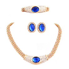 Fashion Crystal Wedding   Vintage Women Necklace Earrings  Bridal Jewellery Costume Accessories Jewelry Sets