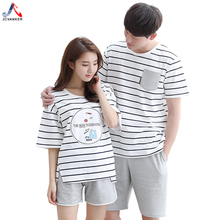 JCVANKER Summer Couples Pajamas Set For Women Man Cotton Striped Pattern Female Male Shorts Sleepwear Pyjama Suit Home Clothing