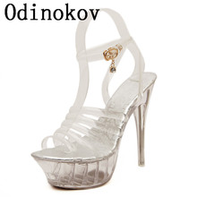 Odinokov Sexy Peep Toe Valentine Shoes  Woman High Heel 14cm High  Women High Heels Women Wedge Shoes Pumps Rhinestone Shoes