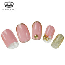 20 pcs Nail Tips Pre Designs Full Cover False Nails Decorated Press On Black Fake Acrylic Oval Bride Nail Tips Pink Wholesale(China)