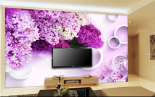 The most popular 3D large murals, modern simple purple lavender wall paper, living room sofa TV wall bedroom wall paper(China)