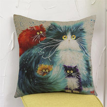 Cute cat animal Oil Painting style colorfull Cushion Cover Pillow Case Home club coffee shop bar sofa chair decoration for gift(China)