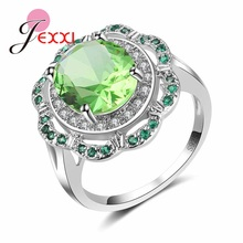 JEXXI Beautiful Accessories Fashion 925 Sterling Silver Ring Green With White Crystal Stone For Women Wedding Rings Jewelry(China)
