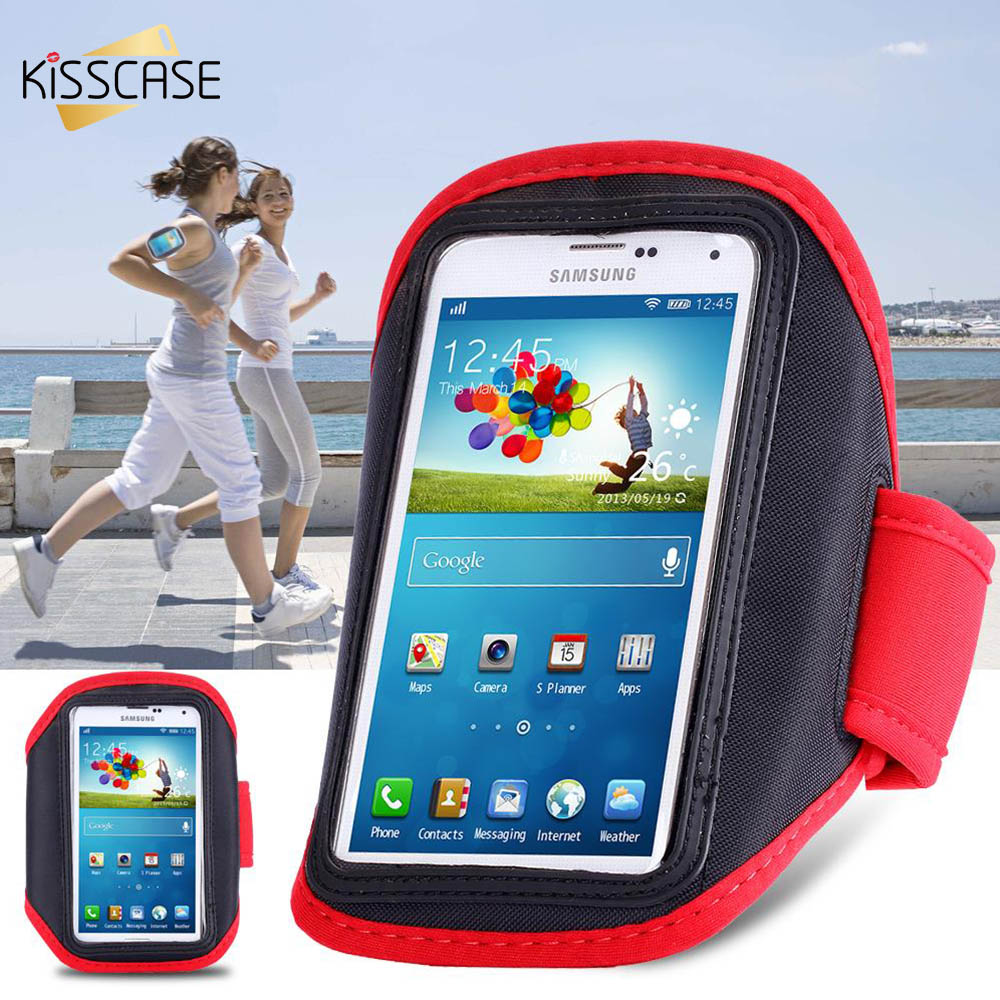 KISSCASE Universal Armband For Samsung Galaxy S3 S4 S5 S6 Running Sports Gym PU Leather Arm Band Phone Cases For Galaxy S6(China)