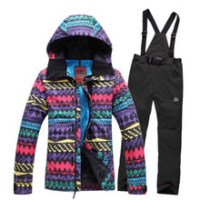 Hot Sale  Women Ski Suit Sets Ladies Snowboard Clothes 10K Waterproof -30 Thicken warm winter Snow Clothing Jacket+Pant