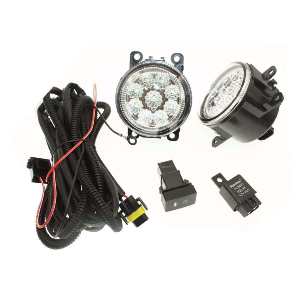 For Peugeot 207 SW Estate WK_ 2007-12 H11 Wiring Harness Sockets Wire Connector Switch + 2 Fog Lights DRL Front Bumper LED Lamp <br>