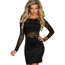 ML17828 Newly Fashion Sexy Black Long Sleeve Lace Formal Cocktail Party Wear Club Dress