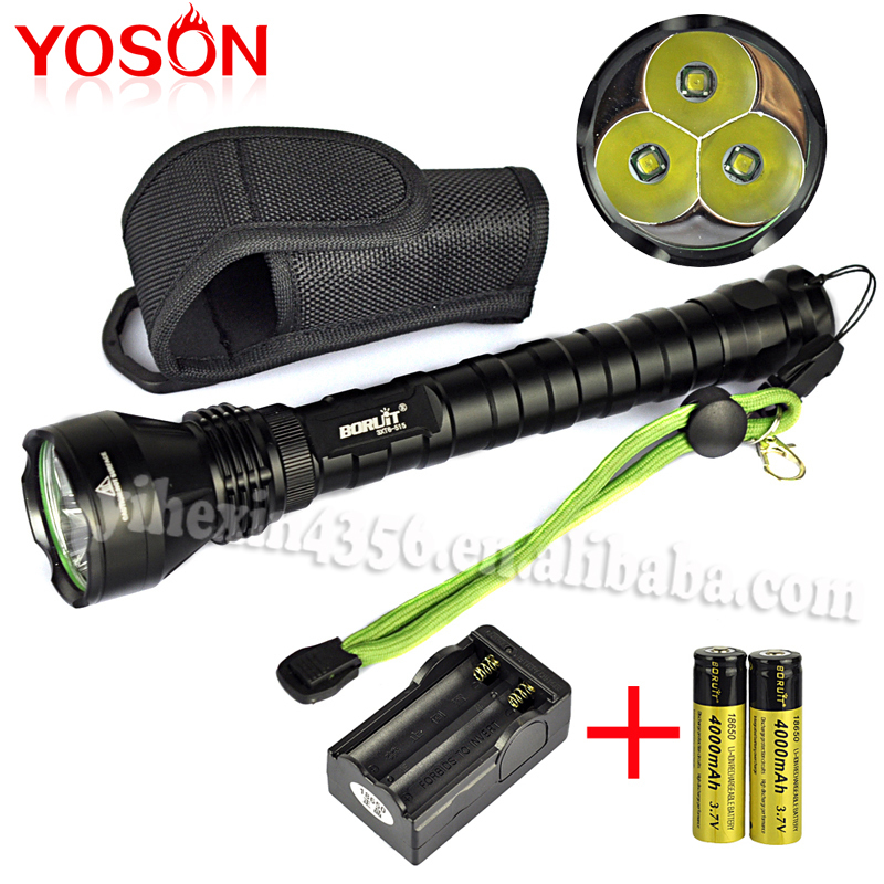 4000 Lumen 3T6 xml T6 LED Flashlight Linterna Lanterna Tatica for Camping Hiking with charger and 18650 battery<br>