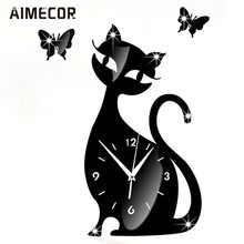 My House 35x32cm Cute Cat Mirror Black Wall Clock Modern Design Home Decor Watch Wall Sticker,jul 14